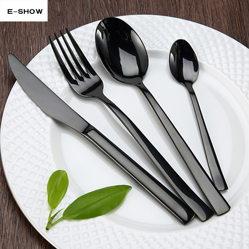 Brand Matte Black Dinnerware 4 Set Stainless Steel Cutlery Set Fork Knife Scoops Silverware