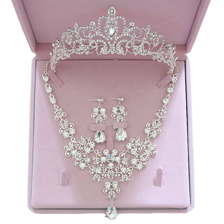 Fashion Crystal Wedding Bridal Jewelry Sets Tiara Crown Earring Necklace Bride Women Pageant Prom Jewelry Set Hair Ornaments 6