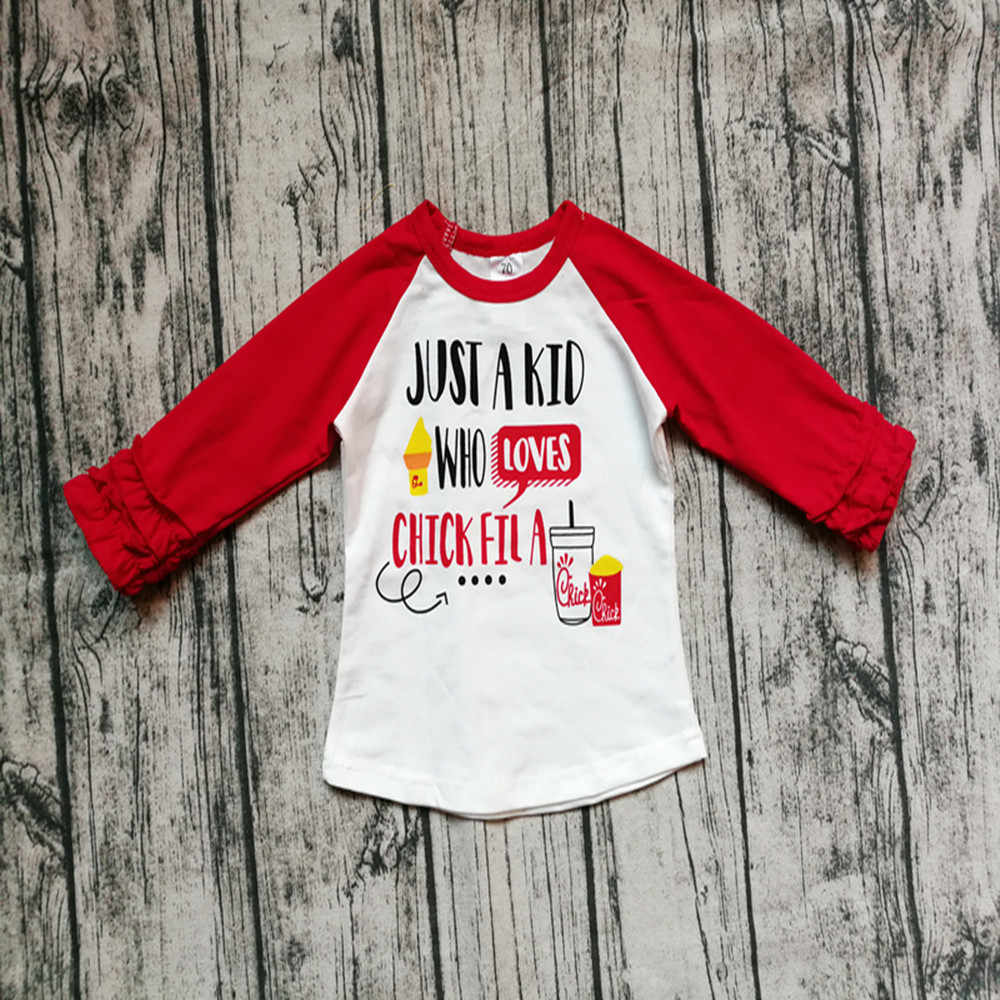 bd4209d9 Girl Red Raglan Sleeve Shirt Kids Girl ruffle long sleeve tshirt Baby autumn  tops for 1