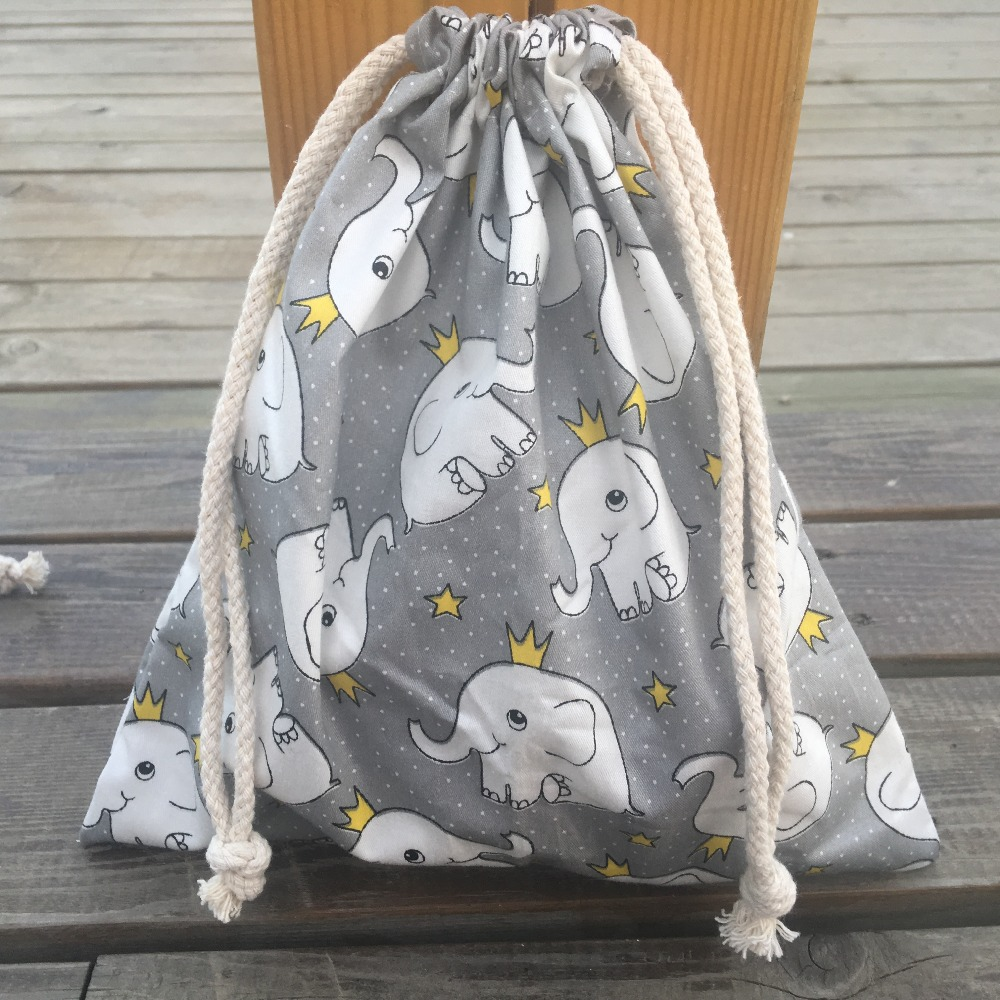 1pc Cotton Twill Drawstring Organizer Bag Party Gift Bag Print Elephant Gray Base YILE408c