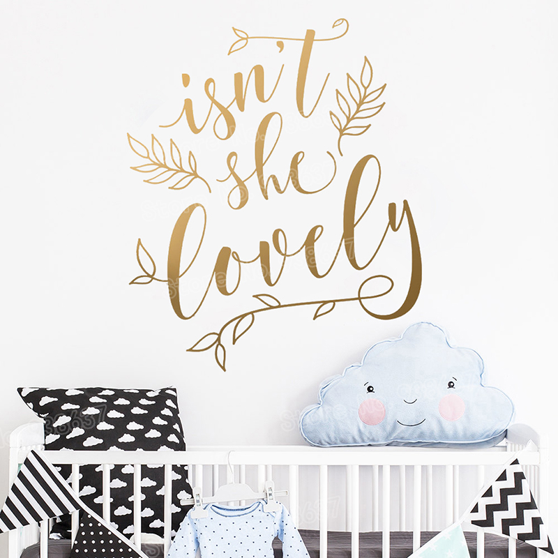 Isnt She Lovely Wall Stickers for Girls Nursery Floral Vinyl Wall Decal Quote Girl Room Sweet Decor Vinyl Sticker Mural JW353