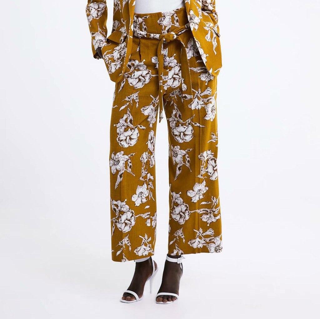 Fashion 2019 Autumn Women Floral Print Trousers Loose Boho Beach   Pants   Causal   Wide     Leg     Pants