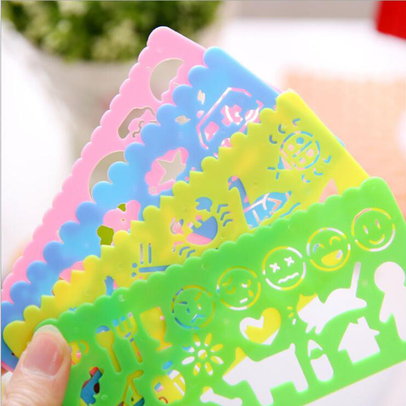 4pcs/set Korea New Stationery Small Animal Children's Drawing  Ruler Template Drawing Kit DIY Office  School Supplies G133