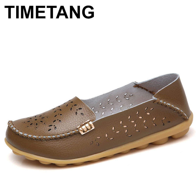 TIMETANG Ballet flats women Genuine Leather Moccasins Summer Slip On Female Loafers Folding Flower Casual Sapato Feminino C272