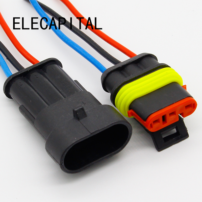 3 Pin Way Sealed Waterproof Electrical Wire Connector Plug Set Auto Connectors With Cable