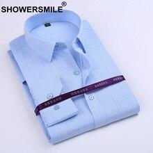 SHOWERSMILE брендовая одежда волокна бамбука рубашка мужская с длинным рукавом Slim Fit официальная Вечеринка платье рубашка корейский мода хлопок смешивания