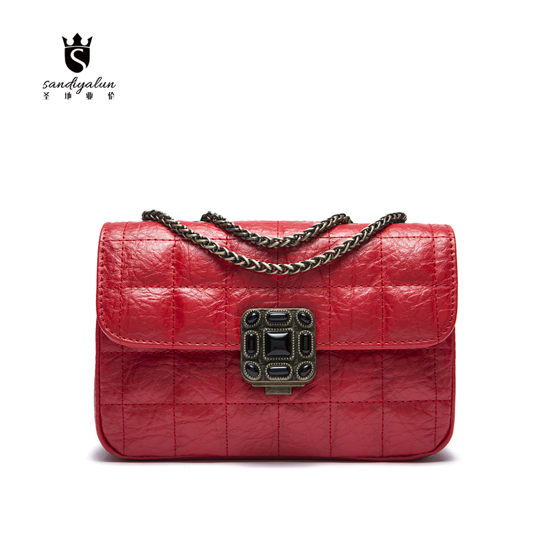 2016 Fashion Women Crossbody Chain Bag Lady Purses And Handbags Brand Designer Ladies Hand Bags Genuine Leather Shoulder Bag 2016 famous brand genuine leather bags for women vintage women purses and handbags fashion fashion designer crossbody bag j809