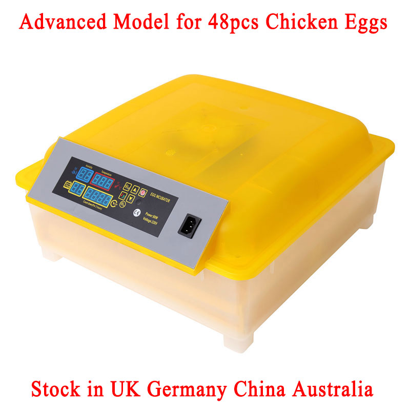 48 Eggs Incubator Chickens Ducks Egg Poultry Incubator Automatic Turning Tray Incubation Equipment UK EU Plug 48 eggs tray automatic incubator egg tray chickens ducks and other poultry
