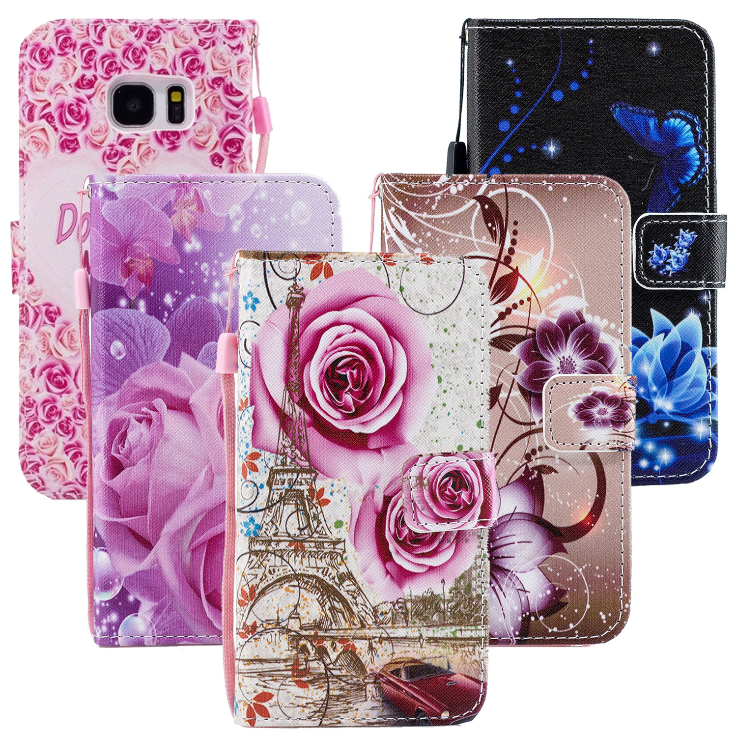 Flower Leather <font><b>Cases</b></font> For <font><b>Samsung</b></font> Galaxy S9 S8 Plus Note 8 <font><b>Case</b></font> S3 S5 Neo A3 A5 A7 A8 Plus J1 J3 J2 J5 J7 Prime Cover Wallet Bag image