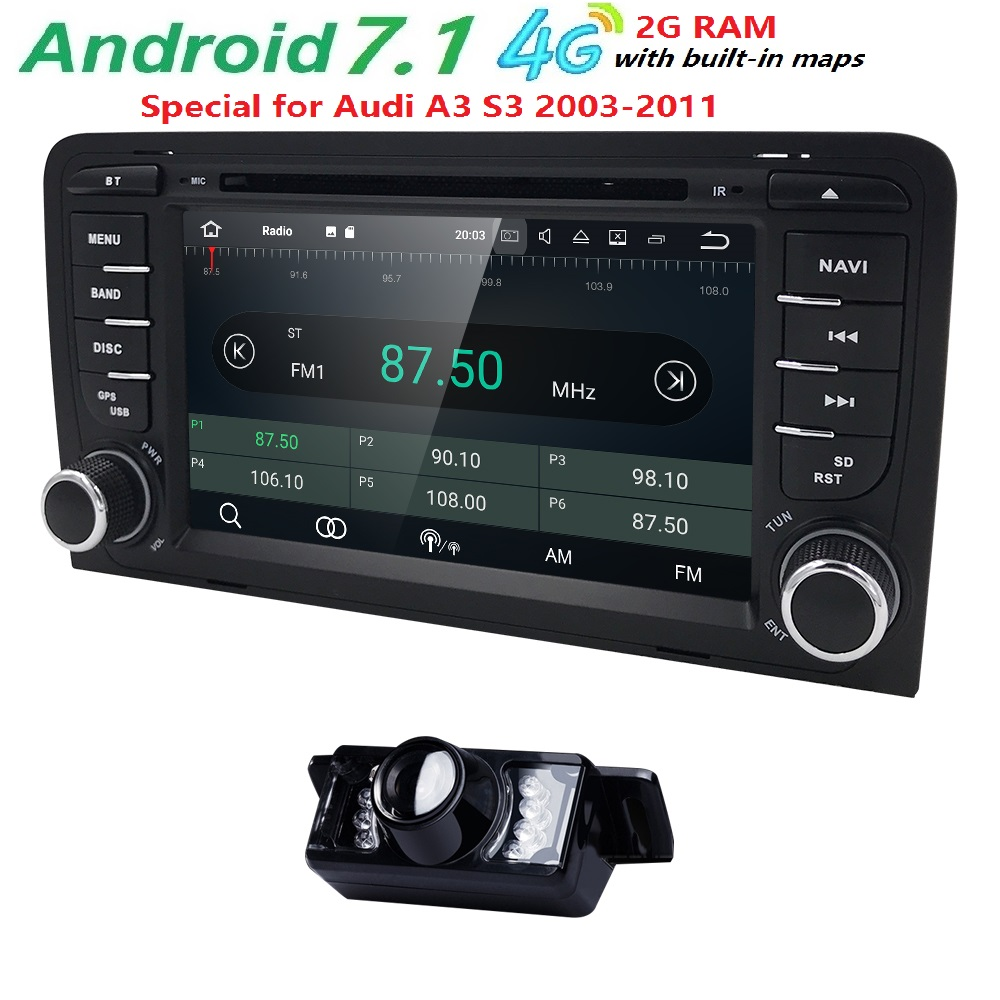 2Din 7 1024x600 QuadCore 2 ГБ/16 ГБ/32 ГБ Android 7,1 шт. автомобильный DVD gps для Audi A3 S3 2003-2013 с стерео радио Wi-Fi 4 г БД DVR CAM