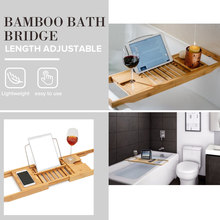 Luxury Bathroom Bamboo Bath Bathtub Shelf Bridge Tub Caddy Tray Rack Wine Glass Book Holder Bathtub Rack Support(China)