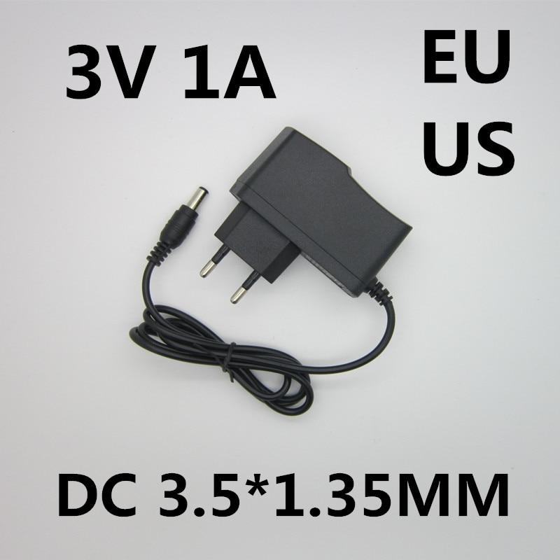 Free shipping AC/DC Adapter DC 3V 1A 1000ma AC 100-240V Converter Adapter,3V1A Charger Power Supply EU Plug DC 3.5*1.35mm 5pcs best quality dc plug dc plug long 5 5 2 1mm solder free shipping