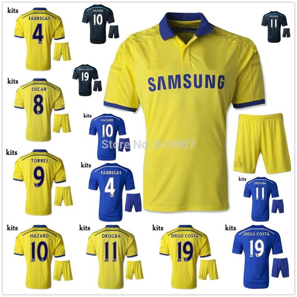 best sneakers 93c7d 748fe 2014 15 chelsea fc 11 oscar away yellow soccer shirt kit