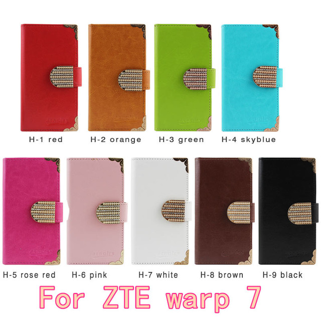 2016 Top Luxury New Flip Leather Wallet Phone Case Design For ZTE warp 7 N9519 Cover Dedicated Slip Protective Wallet Free DHL