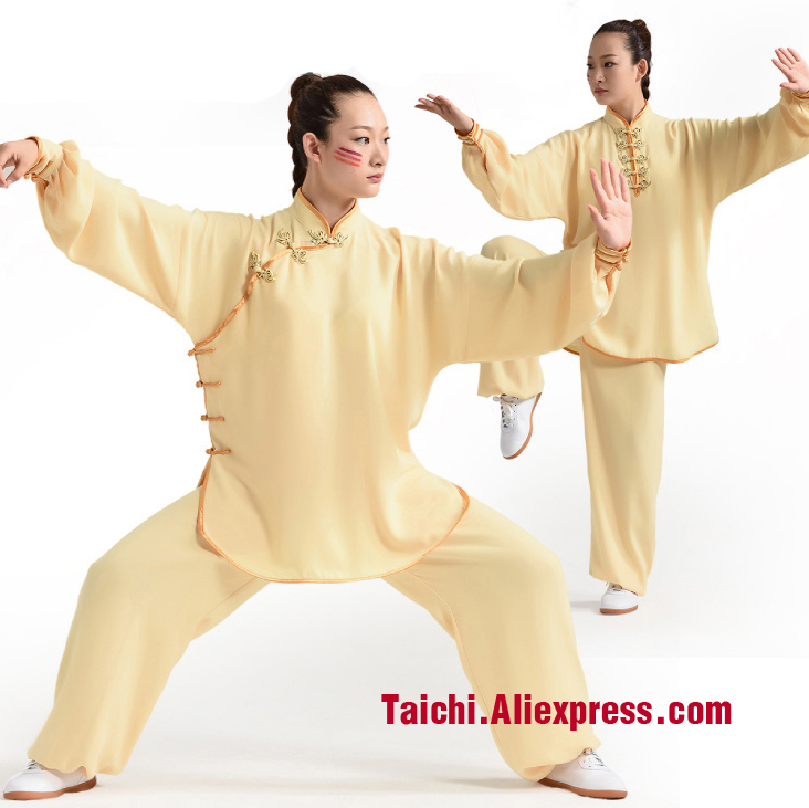 Handmade Women Tai Chi Uniform Wushu, Kung Fu,martial Art Suit,Oblique Lapel,yellow