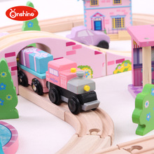 ONSHINE 41pcs set Wooden Train Track Kids Toy City Traffic Scene Combination Bus house fountain Toy