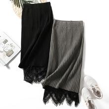 Women lace knitted sweater skirt long stripe midi skirt autumn high waist knitting bottoms elastic warm casual winter black gray