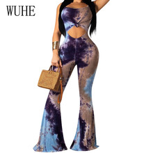 WUHE High Quality Womens Halter Printed Flare Jumpsuits Sexy Hollow Out Backless Retro Playsuits Wome Summer Elegant Club Wear
