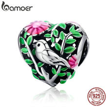 BAMOER Summer Collection 100% 925 Sterling Silver Bird in the Woods Charm Beads fit Women Bracelet Necklaces Jewelry Gift SCC647(China)