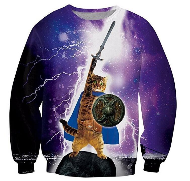 2018 NEW FASHION STYLE MEN WOMEN MAN Cat warrior lightning Sweat shirts Pullovers Tracksuit Streetwear Loose Thin Hoody Top
