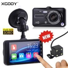 Видеорегистратор XGODY A6T, 4 дюйма, с сенсорным экраном, ночным видением, датчиком поворачивания экрана 1080P