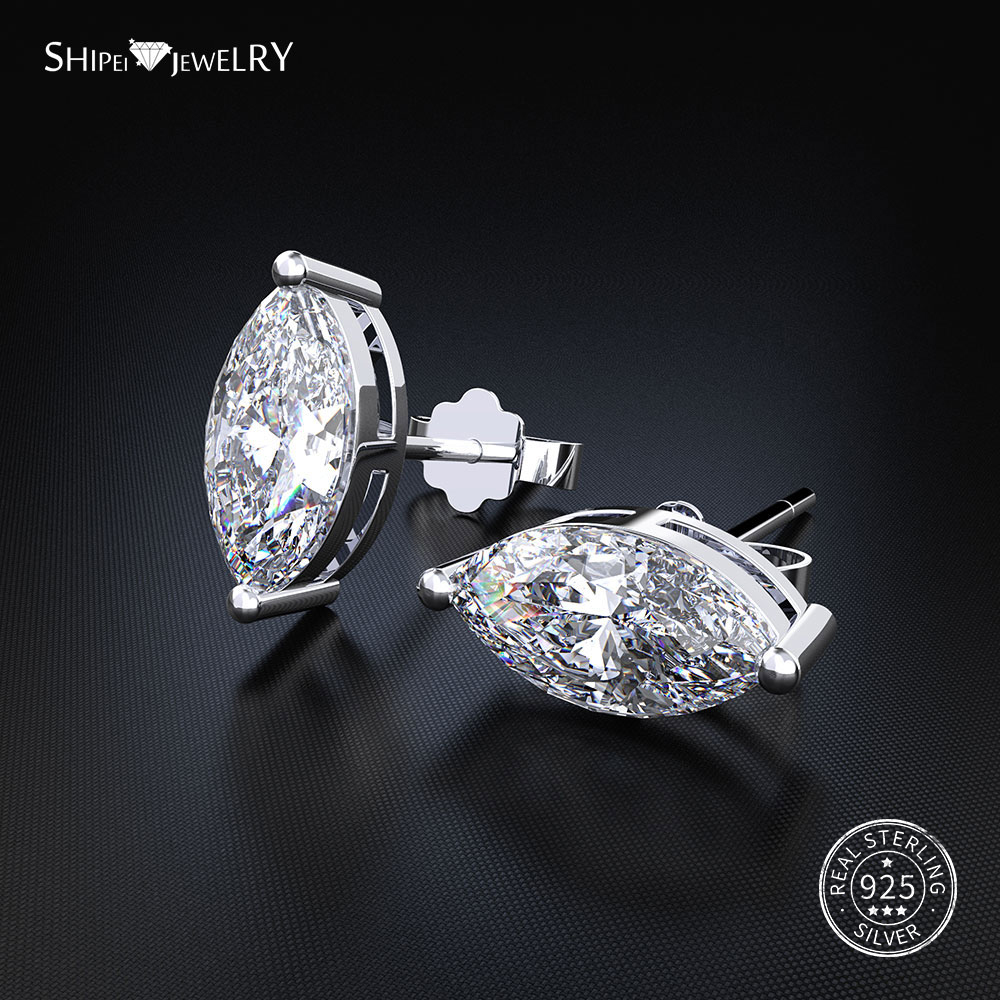 Shipei 100% 925 Sterling Silver Fine Jewelry Minimalist Sapphire Emerald Ruby Marquise Stud Earrings for Women Birthday Gift