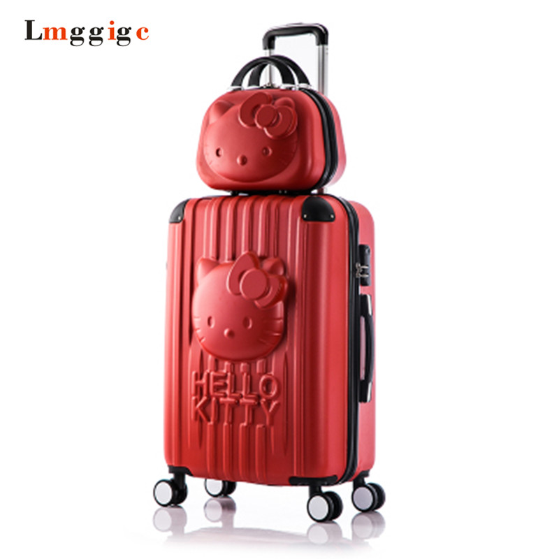 2024inch Hello Kitty Luggage Travel Bag,Kids Cartoon Suitcase sets,ABS Nniversal wheels woman Box, Children Trolley Case fashion luggage female small fresh 16 20 suitcase universal wheels trolley luggage travel 24 soft box vintage hello kitty luggag