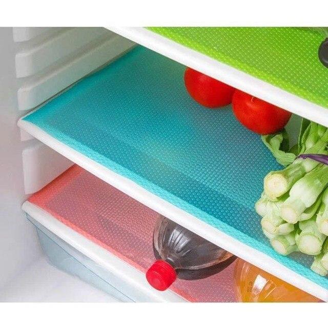 4pcs/set Fridge Mats Antibacterial Refrigerator Pad Magnet Mat Antifouling Moistureproof Fridge Accessories Kitchen Gadget