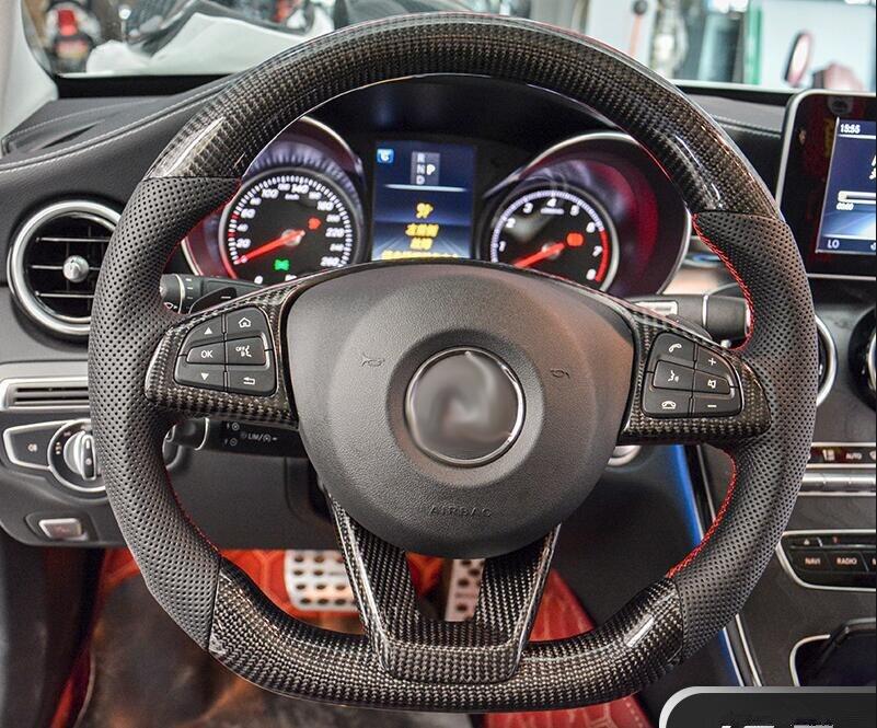 Carbon Fiber Steering Wheel Replacement For Mercedes Benz CLA C E GLC GLE CLASS W117 W205