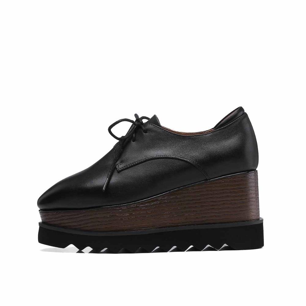 Spéciale Véritable Talons Chaussures L8f5 Offre Noir Krazing Bout Femmes En Rose School Pompes Cuir Pot rose Casual Solide British Couleur Carré Compensées wEXxHxqzU