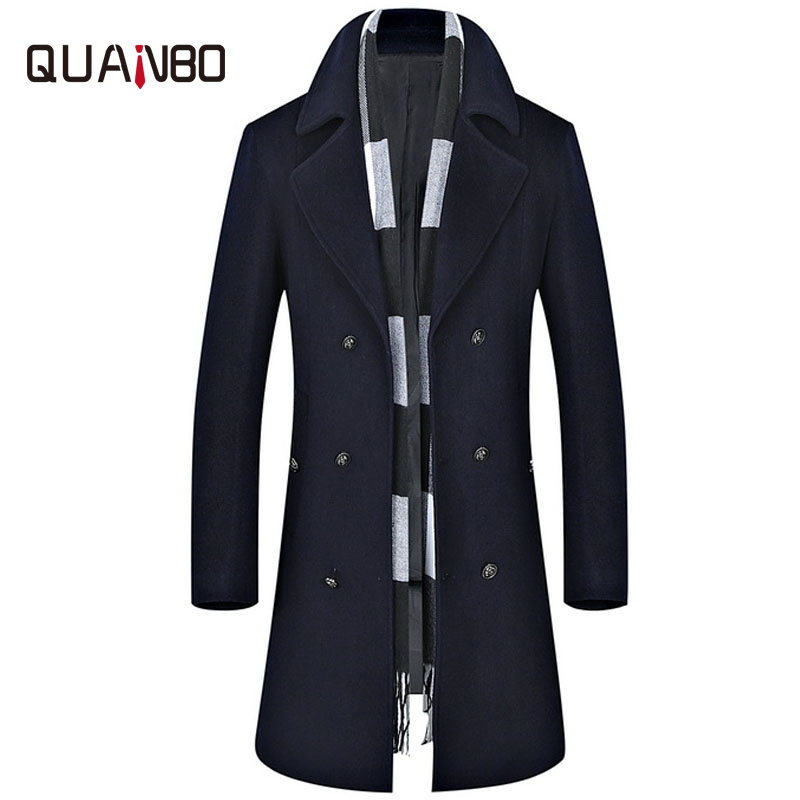 QUANBO Brand Clothing Men's Wool Coat New Winter Thick X-Long Jacket Fashion Double Breasted Solid Slim Woolen Coats