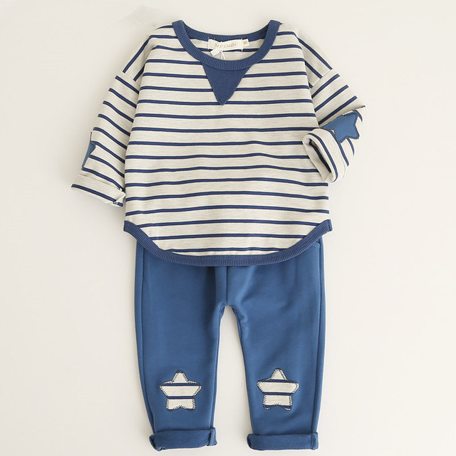ee9a005044c4 Baby Boy Clothing Sets Casual Striped T-shirt + Star Pants Set Spring Kid  Outfit Toddler Children Cotton Tracksuit Clothes