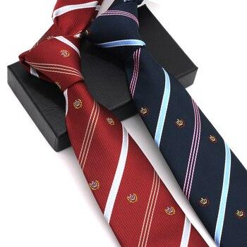 Brand New Arrived 2019 Men Tie 7CM Necktie Business Fashion Casual Stripe Narrow Slim Wedding Party Men Necktie with Gift Box