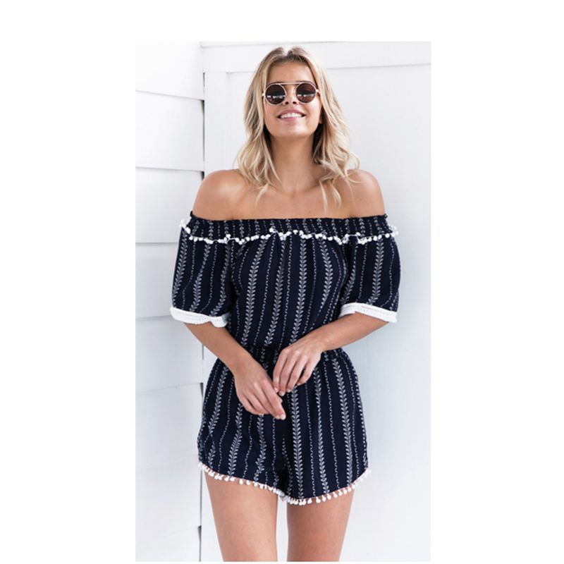 Spring and summer new European American hot-shouldered ladies style elegant temperament sexy female jumpsuit