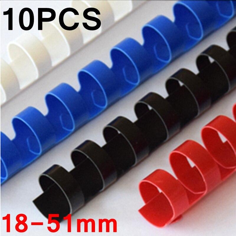 10 Stks/partij Pvc Binding Schorten 21 Ringen 18-51mm Binding 140-450 Vellen A4 Bestanden Kam Binding Machine Plastic Ringen 4 Kleuren Geurige (In) Smaak