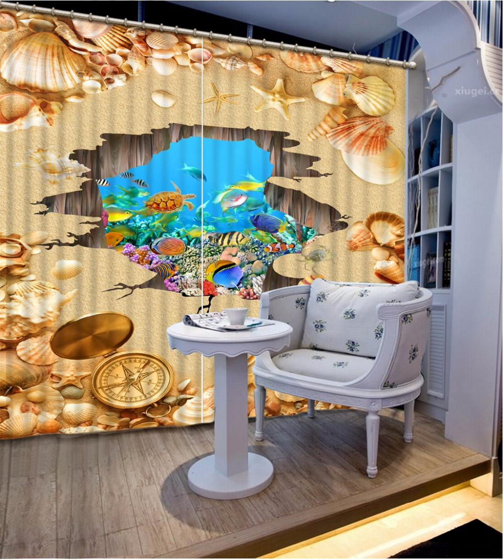 3D Curtain Fashion Customized Beach Shells Sea Bottom Curtains For Bedroom New Custom 3D Beautiful Blackout Shade Window
