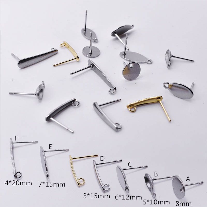 20pcs 316L Stainless Steel Blank Earring Stud Base Geometric Pad Ear Nails Accessories For Diy Earring Jewelry Makings Finding