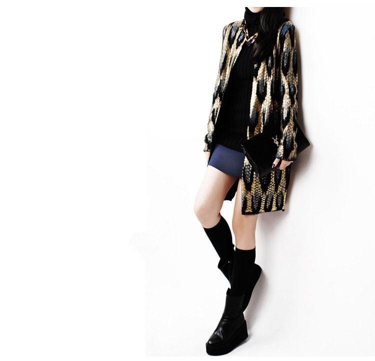 HTB1xB zJFXXXXXQXpXXq6xXFXXXR - 2015 Autumn New The peacock printing Knitting Long Cardigan Ladies Sweater Women Coat Outwear Snake Pattern Bronzing Tops