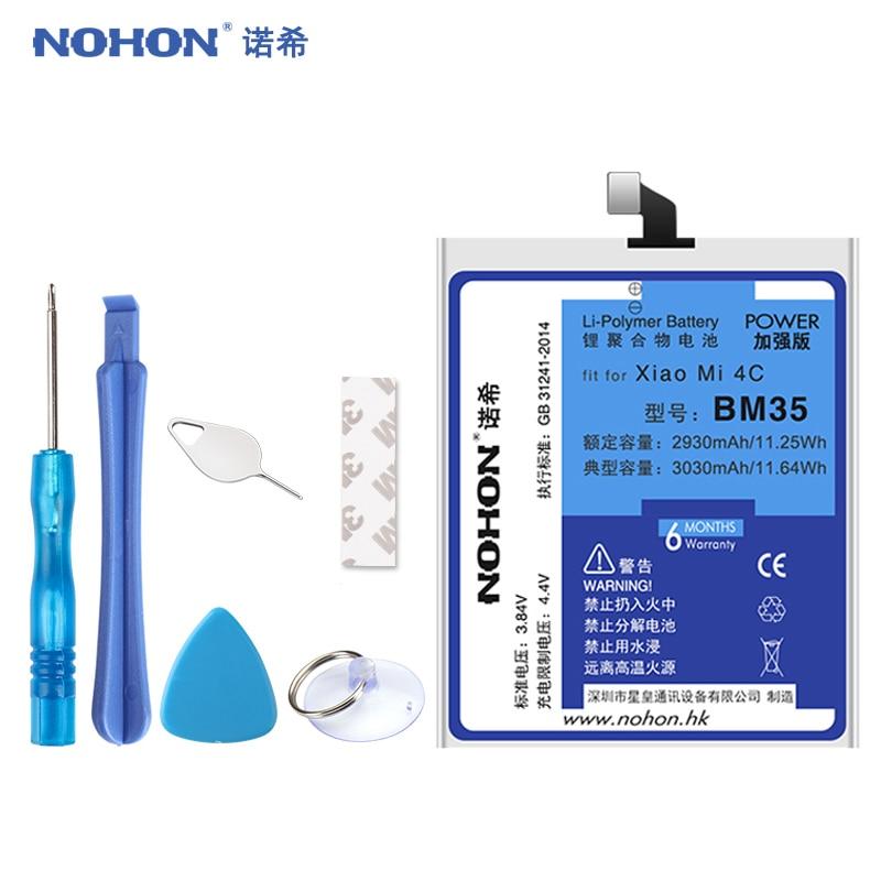 Оригинальный NOHON BM35 Батарея для Xiaomi Mi4C mi 4c запасной аккумулятор для мобильного телефона высокое Ёмкость 3030 мАч бесплатная инструменты BM35-mi 4c