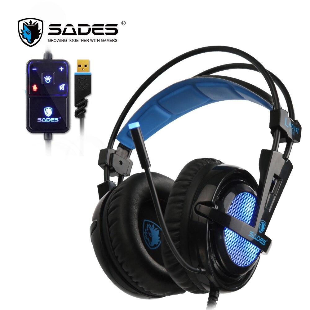 SADES Locust Plus 7,1 Surround Sound Kopfhörer weichen leder ohrenschützer Gaming Headset elastische aufhängung stirnband Kopfhörer