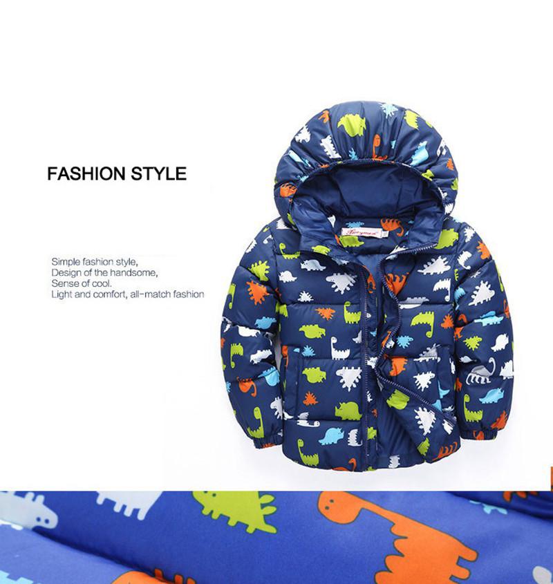80-120cm Dinosaur Winter Kids Boy Jacket Cotton Outerwear Baby Boy Padded Jacket Children Winter-Clothing Hooded Kids Coat (10)
