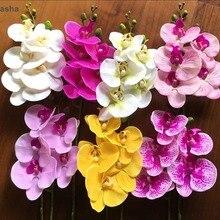1 шт., 5 головок, 65 см, искусственный цветок, фаленопсис, латекс, силикон, настоящее прикосновение, большая Орхидея, орхидеи, свадебные, высокое качество, одиночные шт