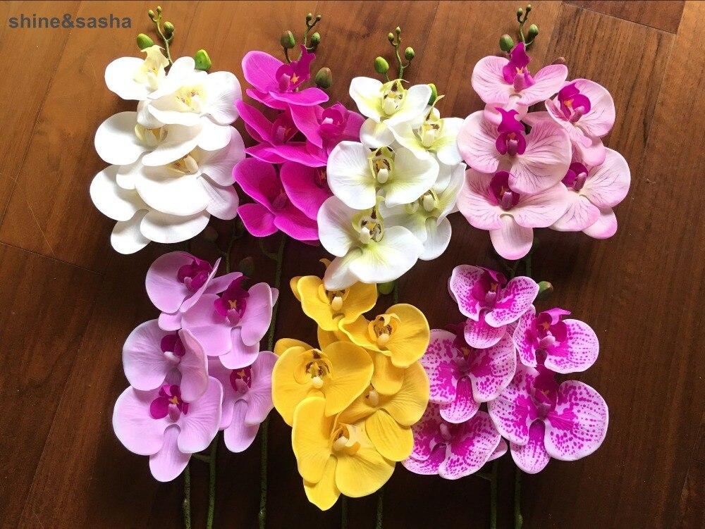 1 шт. 5 головок 65 см искусственный цветок фаленопсис латексный силикон реальный на ощупь большая Орхидея для свадьбы высокое качество одиноч...