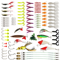 Goture 96pcs Fishing Lure Kit Minnow Popper Spinner Jig Heads Offset Worms Hook Swivels Metal Spoon With Fishing Tackle Box