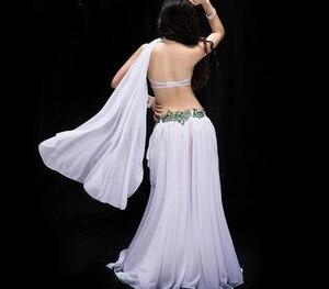 Image 3 - Yeni kadın dans yarışması kostüm 3 parça Set oryantal dans performansı gösterisi giyim Bling Bling Max etek kırmızı beyaz