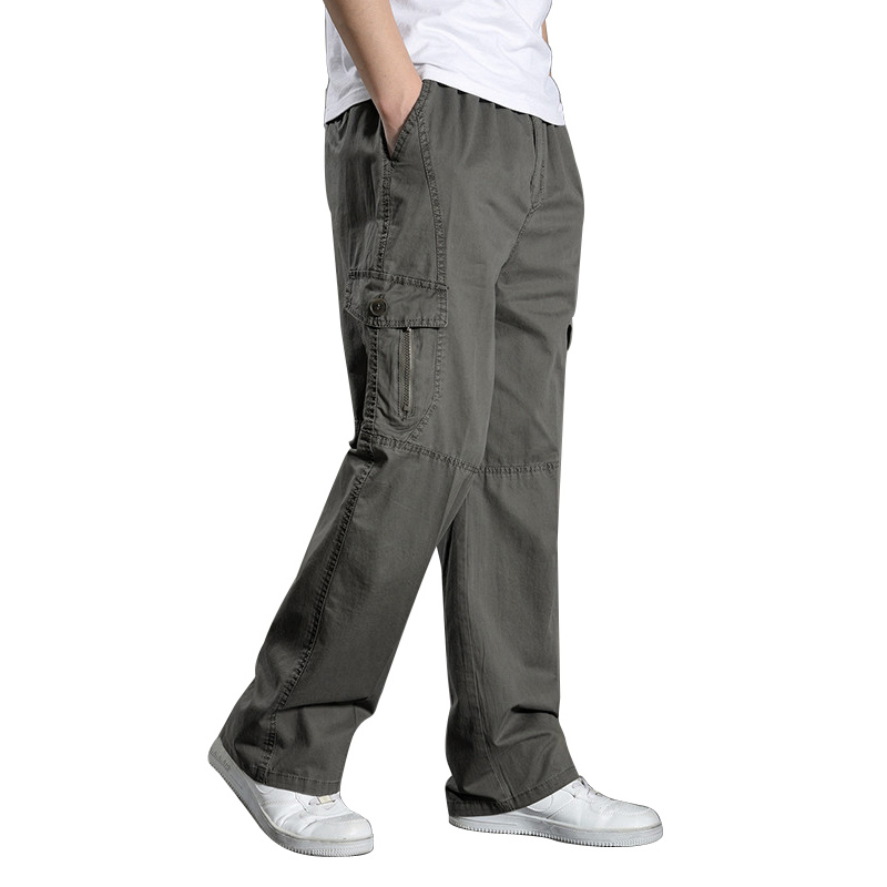 2020 Summer Men Harem Cargo Pants Big Tall Men Casual Many Pockets Loose Work Pants Male Straight Trousers Plus Size 4XL 5XL 6XL