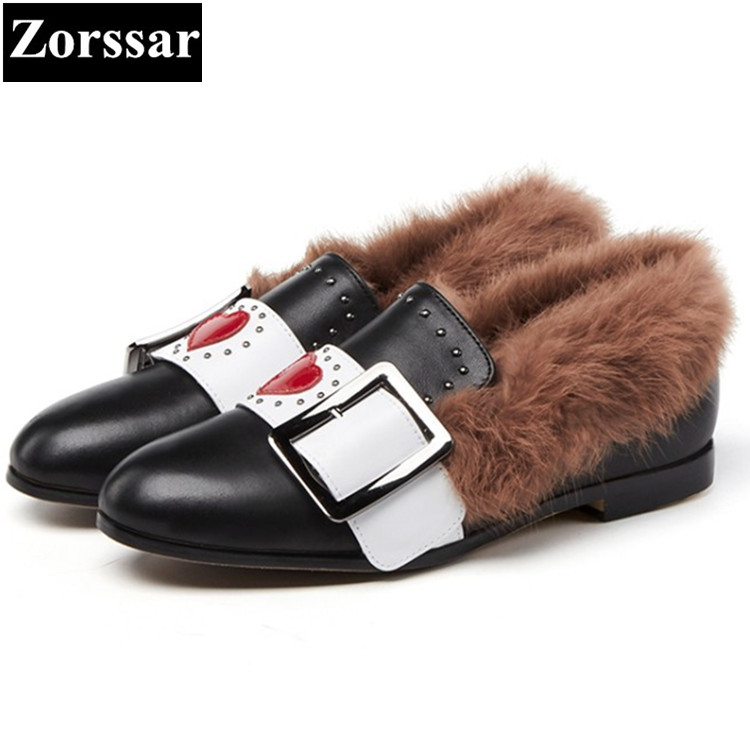 {Zorssar} 2017 new Luxury brand ladies shoes Fashion Casual flat heel pointed Toe shoes winter warm plush womens shoes flats kbstyle 2017 new spring shoes for women brand pointed toe womens flats fashion young ladies casual shoes hot sale wholesale