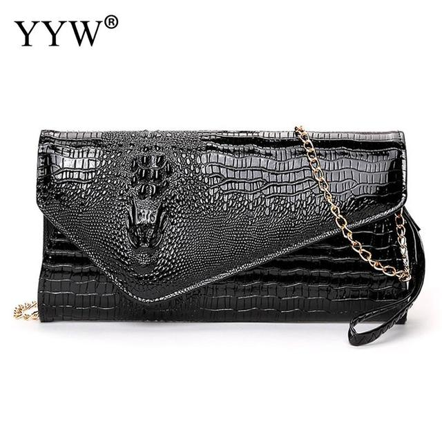 4c870395034d Alligator Clutch Bag for Women Gold Evening Party Bag Brand Luxury PU Leather  Handbags Lady s Chain Crossbody Bag Women s Purse