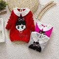 3-7years New 2015 baby girls autumn/winter wear warm cartoon sweaters children pullovers outerwear babi turtleneck sweater