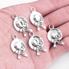 TJP 10pcs Antique Silver Tone Round Flower Butterfly Knot Hat Charms Pendants Beads for Necklace Jewelry Making Findings 15x27mm